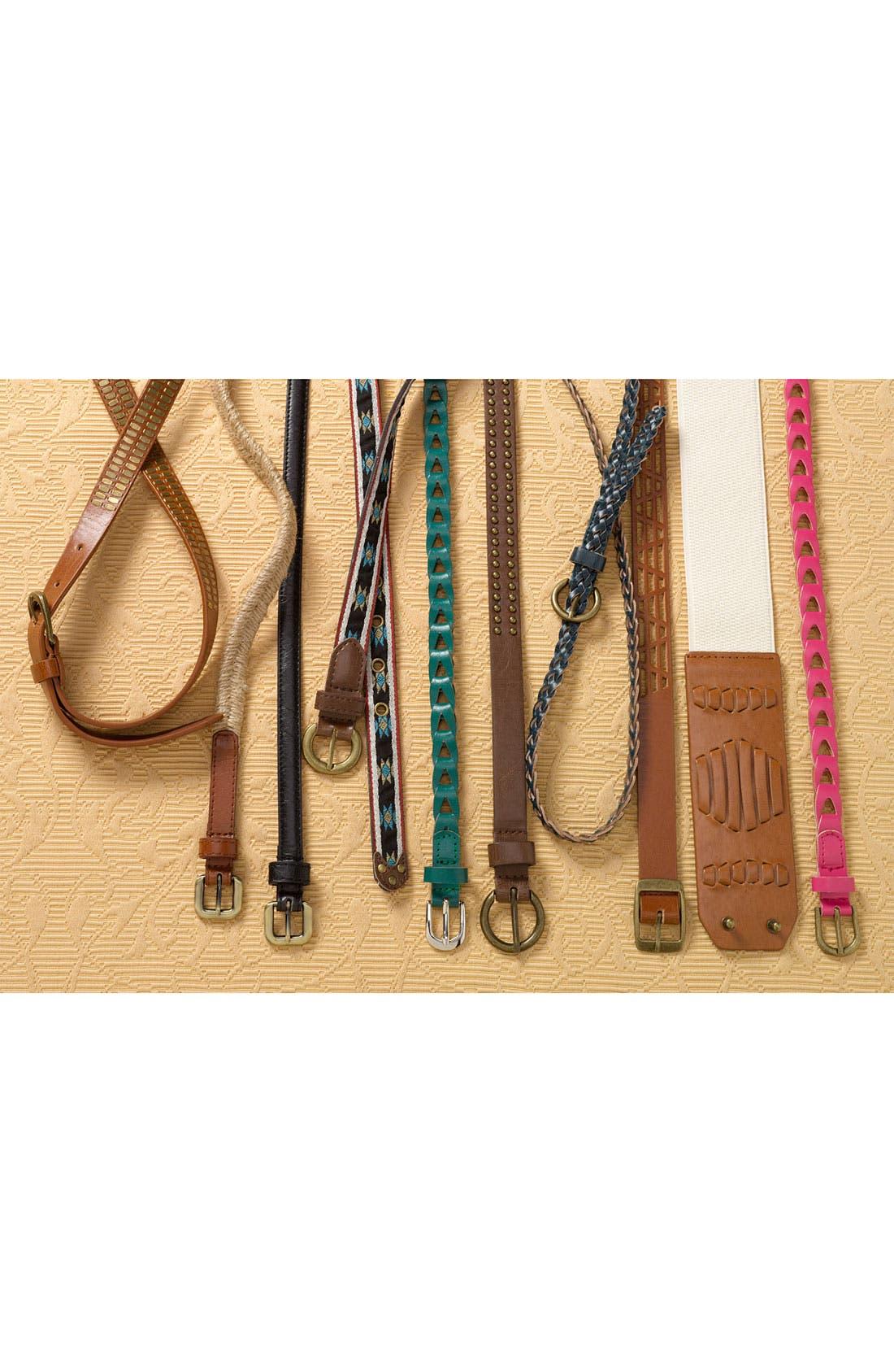 Alternate Image 2  - Lulu Woven Faux Leather Stretch Waist Belt