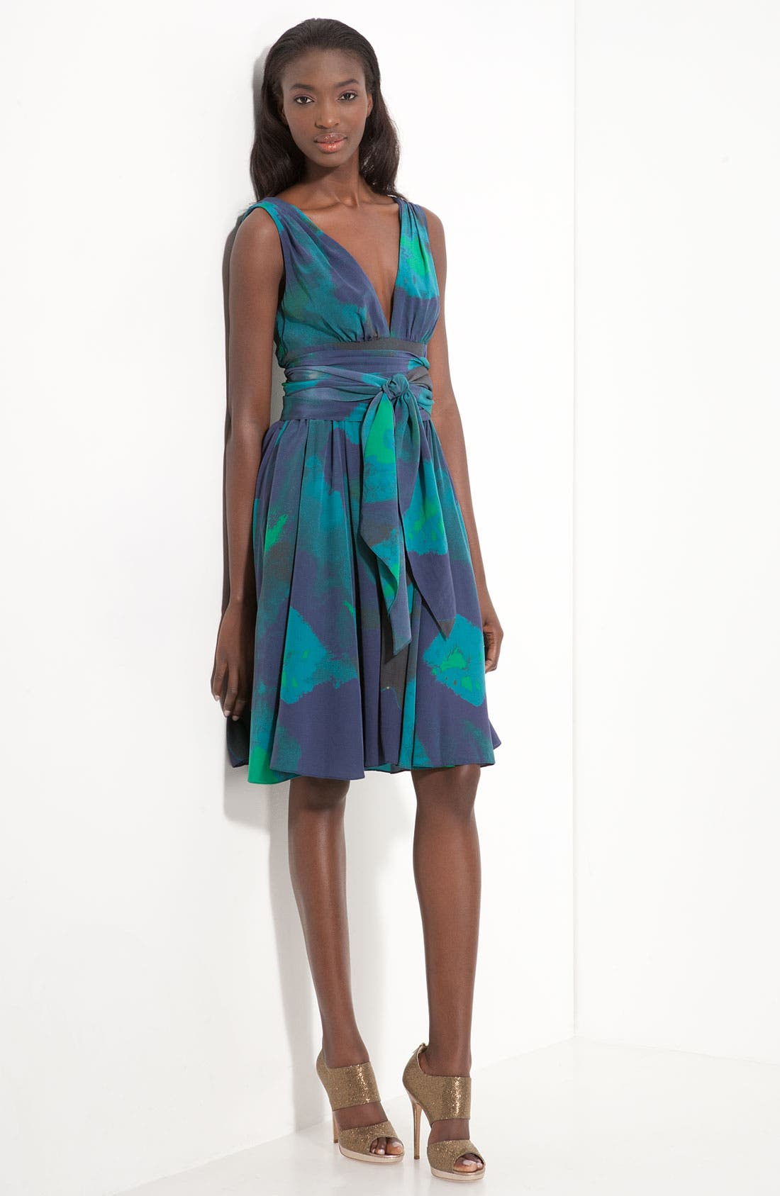 Main Image - Halston Heritage Print Crêpe de Chine Dress