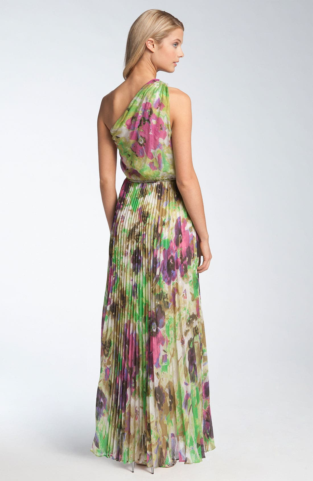 Alternate Image 2  - Maggy London One Shoulder Pleated Crêpe de Chine Maxi Dress