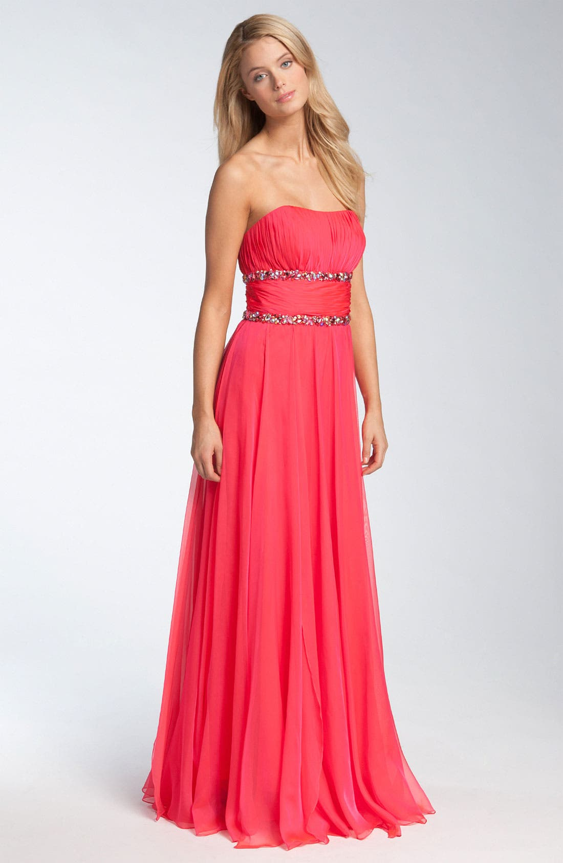Main Image - La Femme Fashions Strapless Beaded Trim Gown