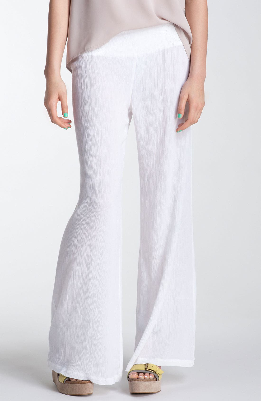 Alternate Image 1 Selected - Mimi Chica Crinkled Gauze Wide Leg Pants (Juniors)
