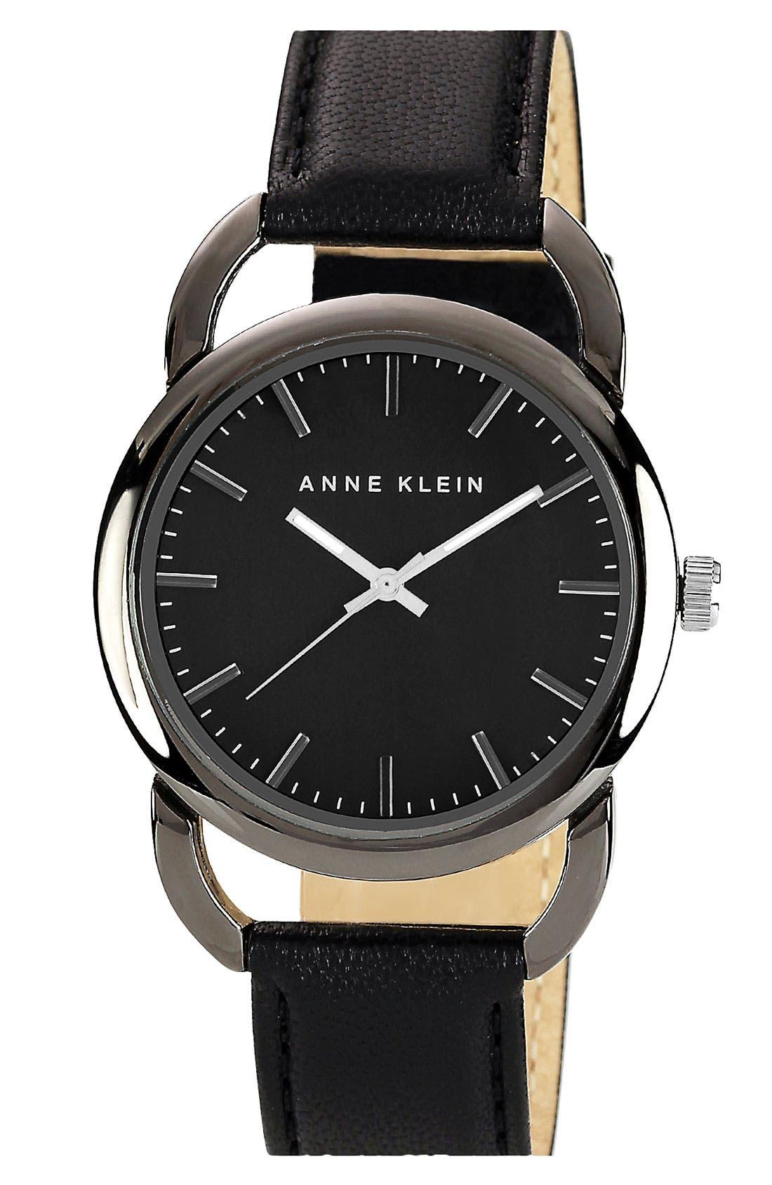 Main Image - Anne Klein Round Leather Strap Watch
