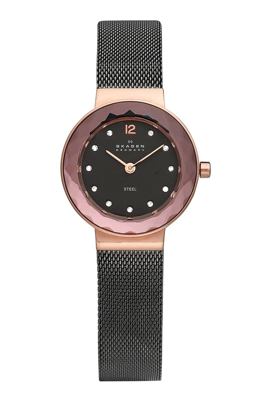 Main Image - Skagen 'Leonora' Faceted Glass Bezel Watch, 25mm