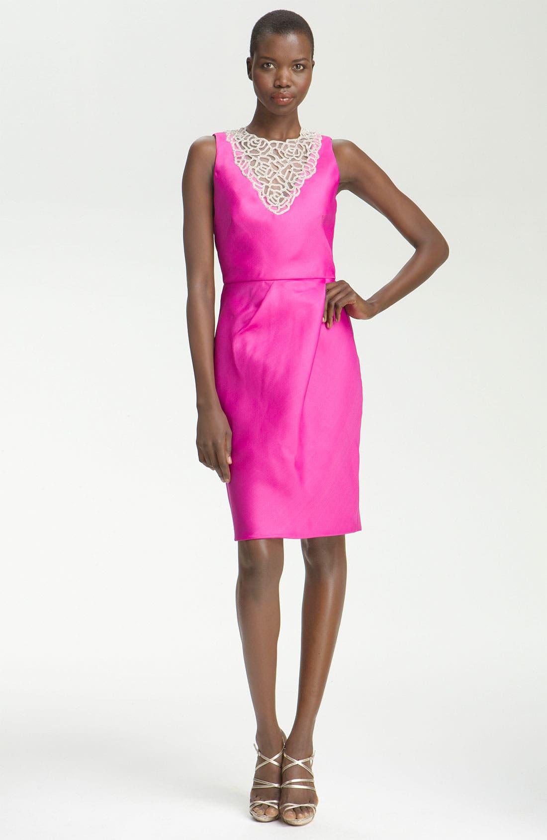 Main Image - Lela Rose Embroidered Bib Dress