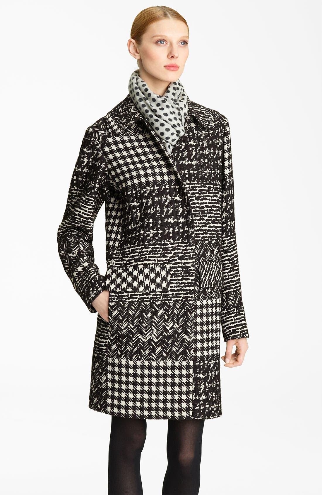 Main Image - Oscar de la Renta Tweed & Matelassé Patchwork Coat