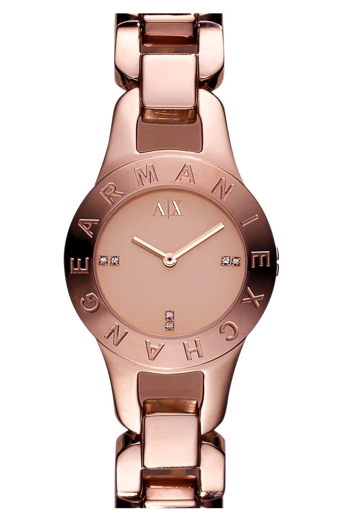 Main Image - AX Armani Exchange Logo Bezel Watch, 30mm (Online Only)