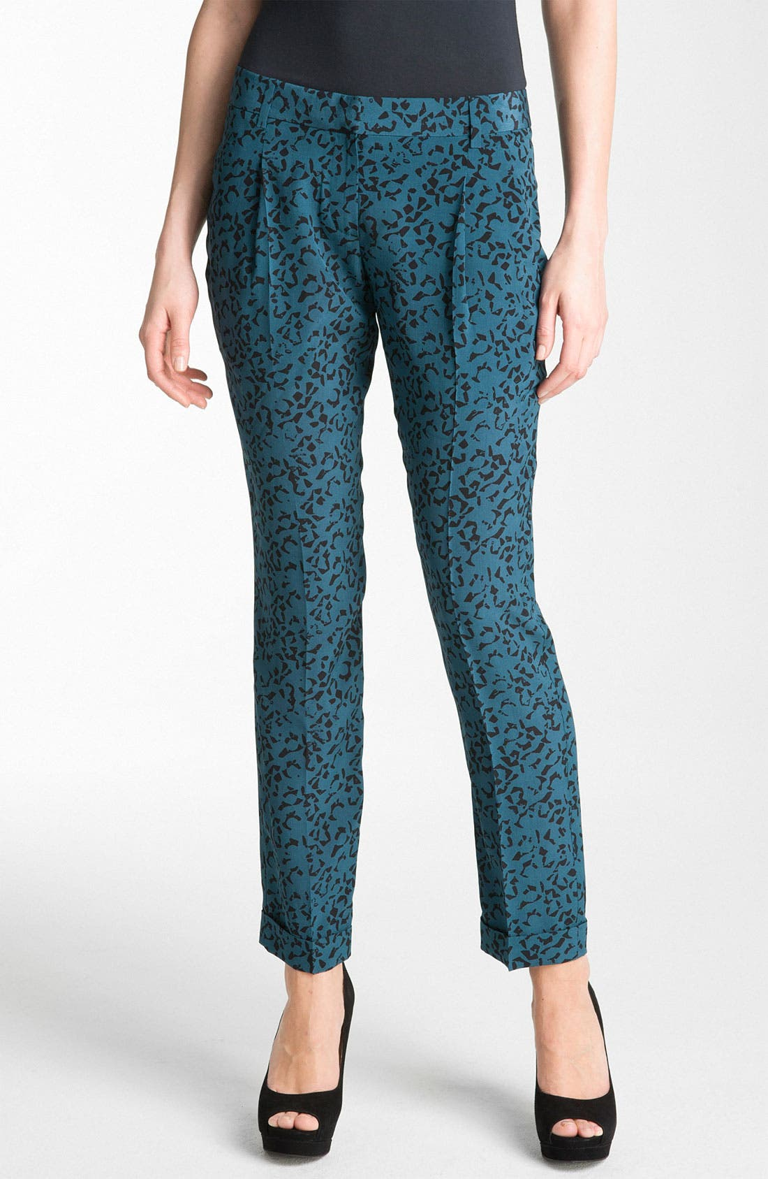 Main Image - Theory 'Latani - B.Abstract' Print Tapered Silk Pants