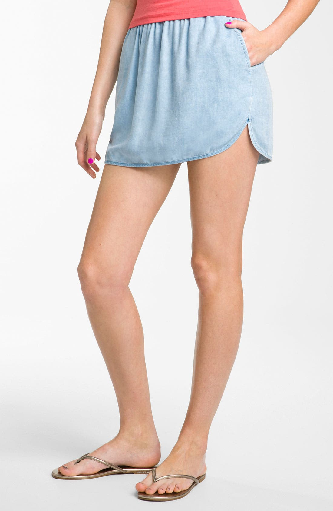 Alternate Image 1 Selected - Rubbish® Chambray Tennis Skirt (Juniors)