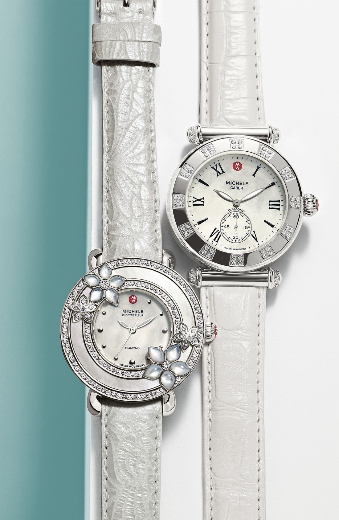 Alternate Image 2  - MICHELE 'Cloette Fleur' Diamond & Mother-of-Pearl Watch Case, 38mm