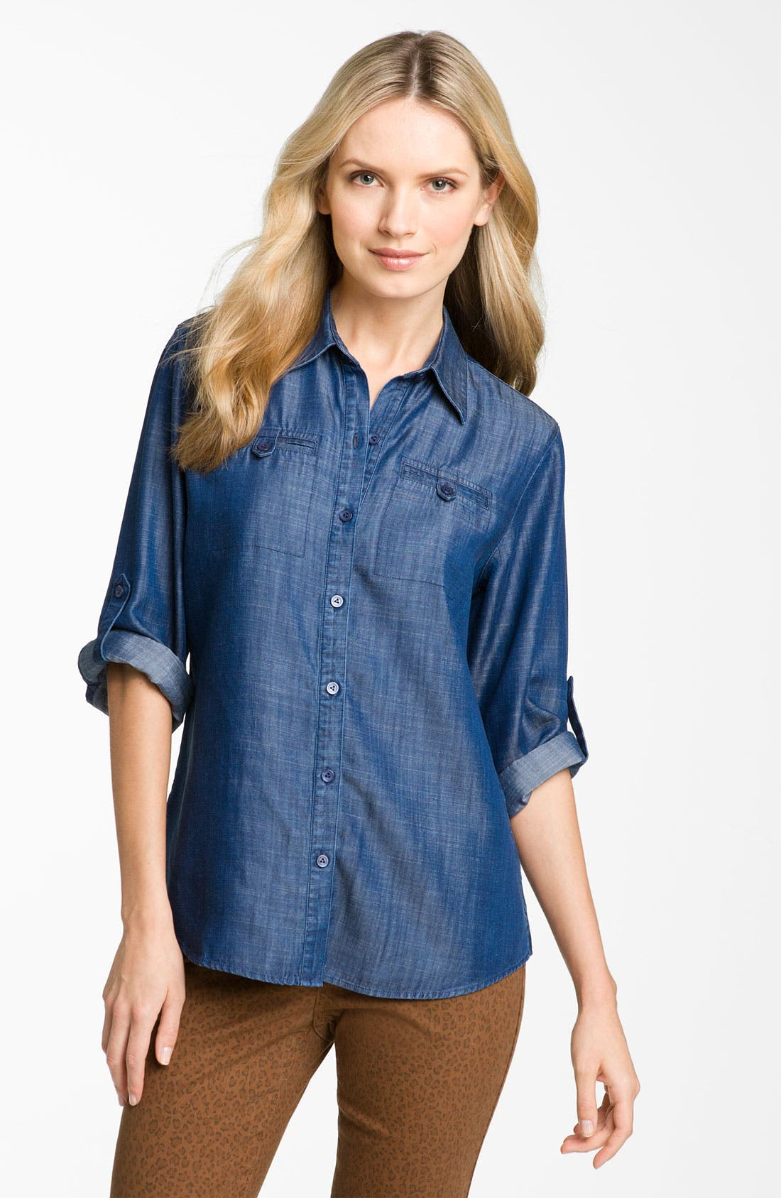 Alternate Image 1 Selected - Foxcroft Roll Sleeve Tencel® Shirt