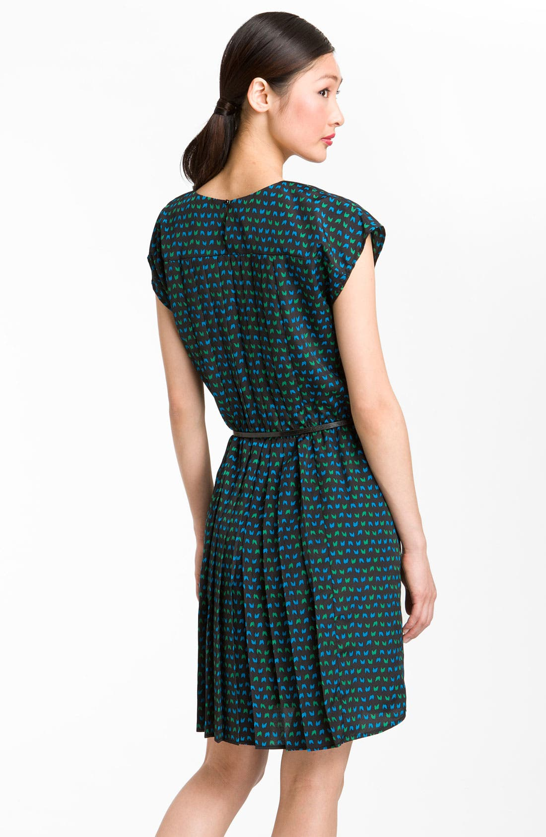 Alternate Image 2  - Taylor Dresses Pleated Crêpe de Chine Fit & Flare Dress