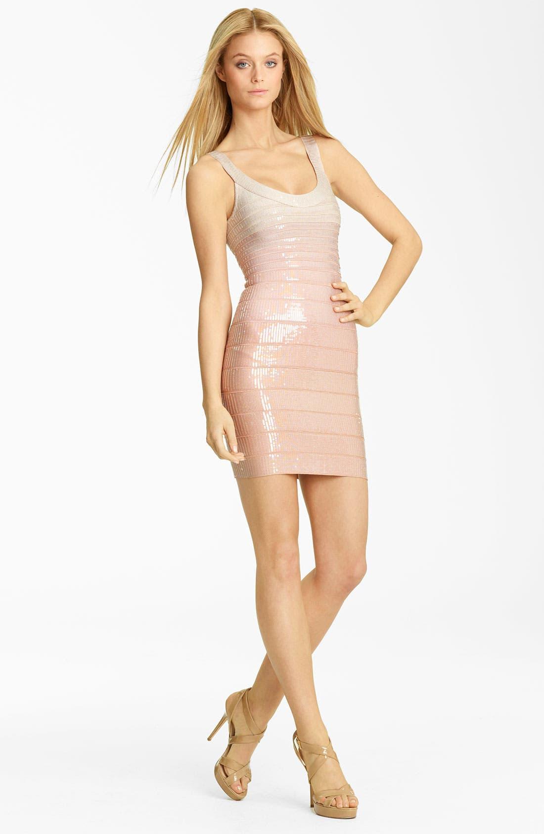 Alternate Image 1 Selected - Herve Leger Sequin Overlay Bandage Dress
