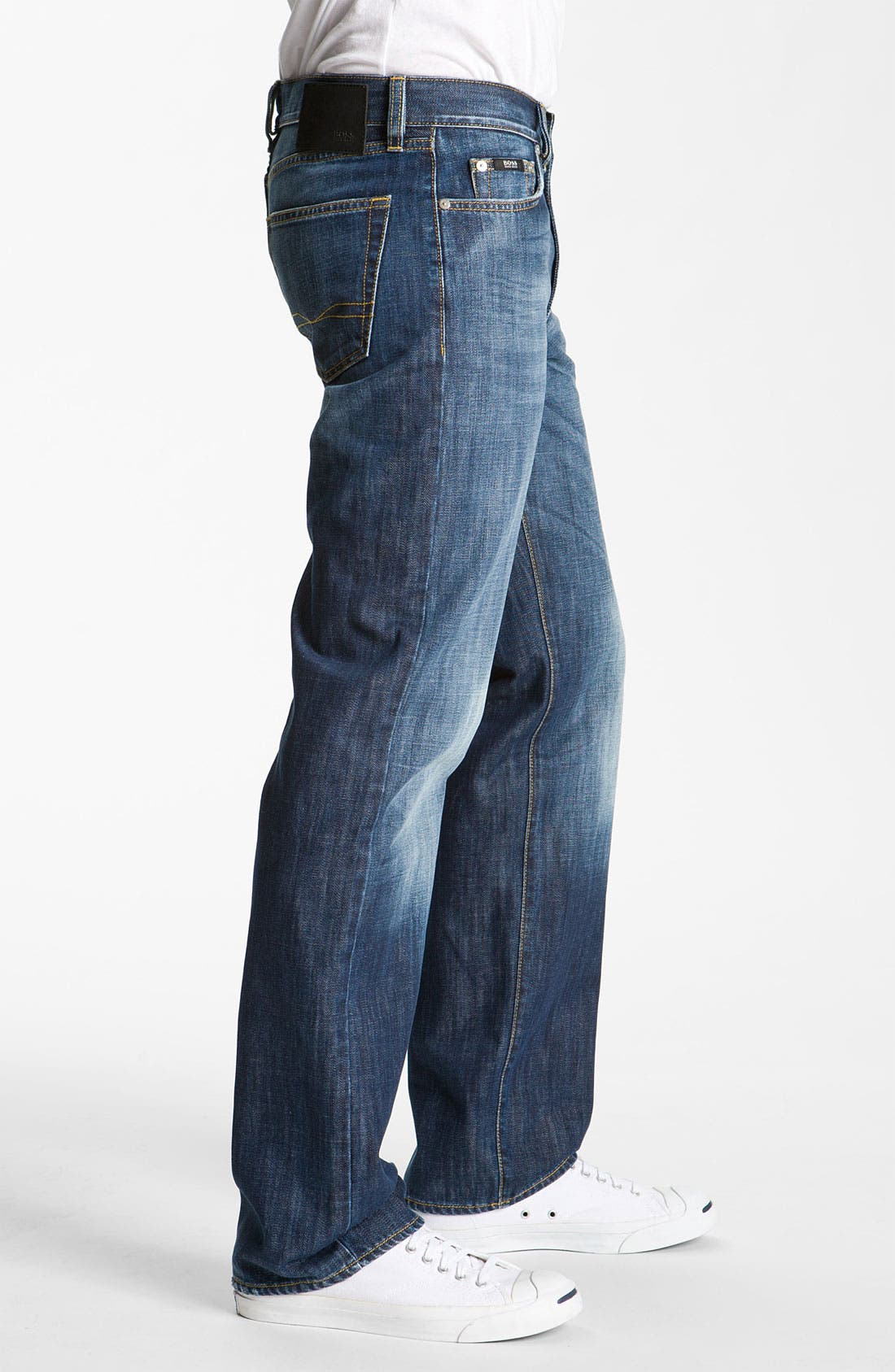 Alternate Image 3  - BOSS Black 'Texas' Bootcut Jeans (Blue Rinse)