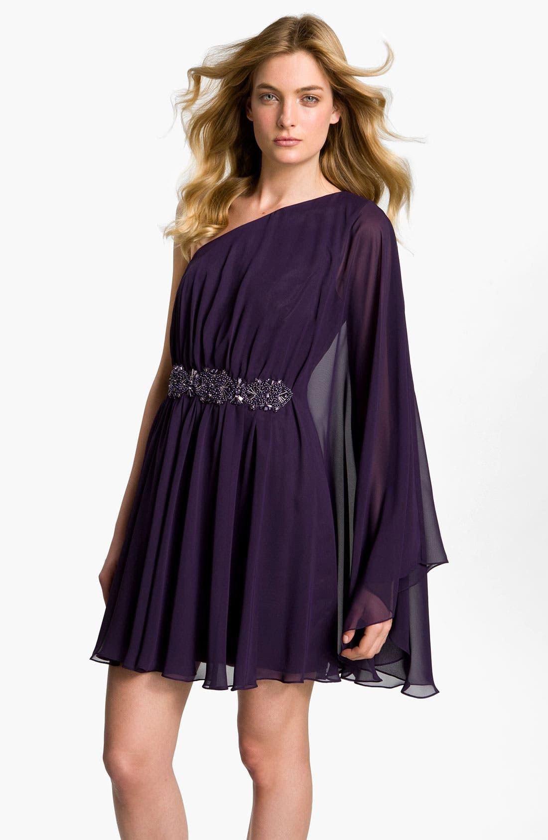 Alternate Image 1 Selected - JS Boutique Beaded Draped Chiffon Dress