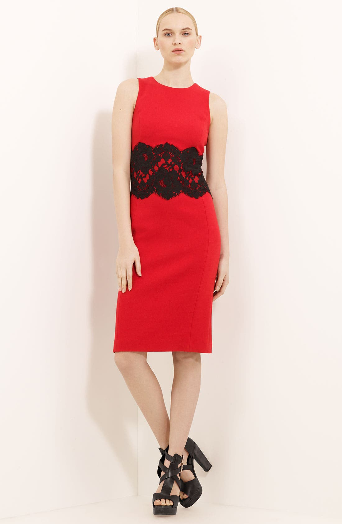 Alternate Image 1 Selected - Michael Kors Lace Detail Bouclé Dress