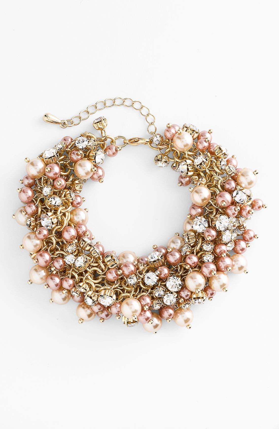 Alternate Image 1 Selected - Nina 'Peony' Glass Pearl & Crystal Cluster Bracelet