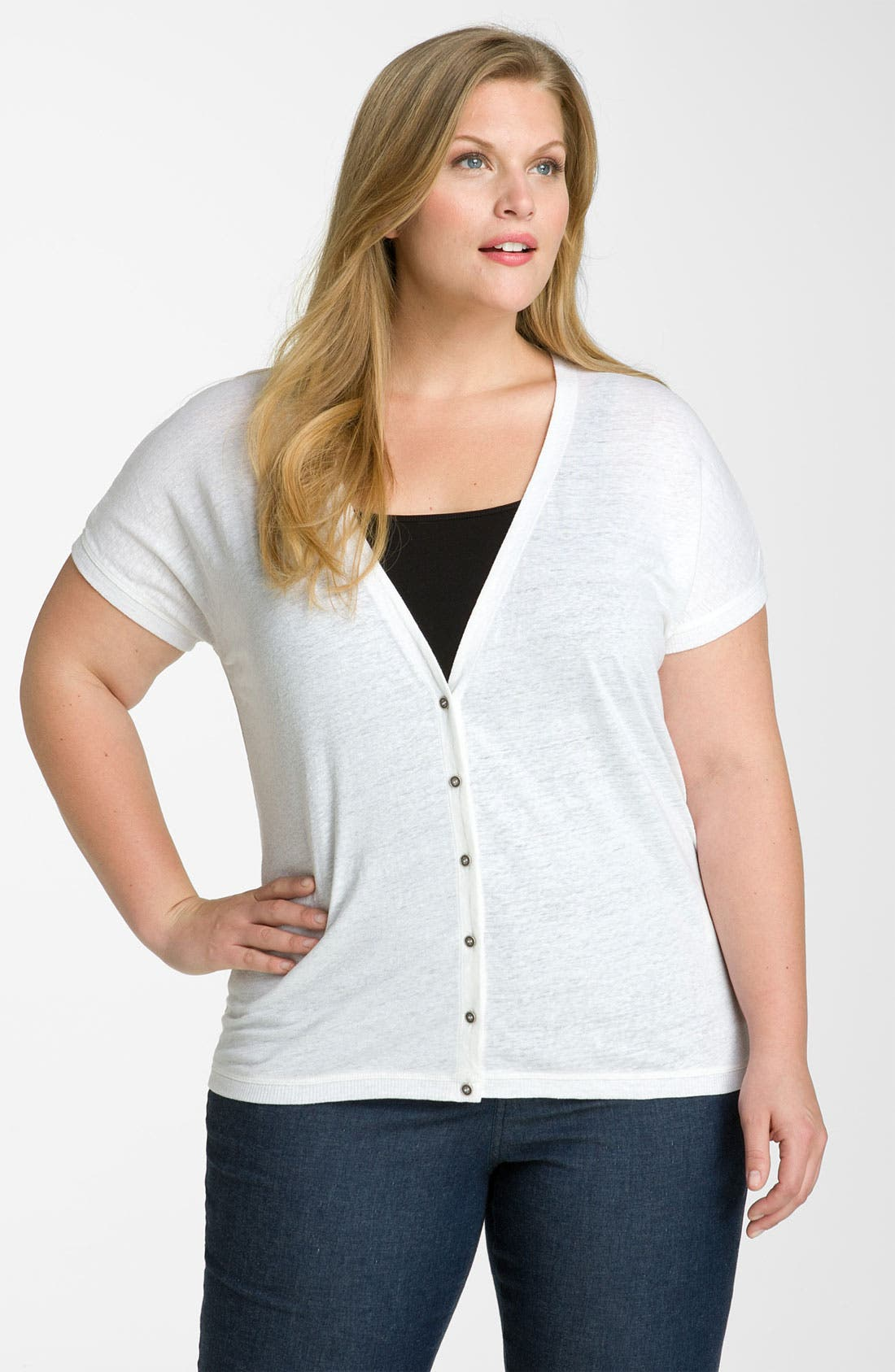 Alternate Image 1 Selected - Eileen Fisher Linen Cardigan (Plus)