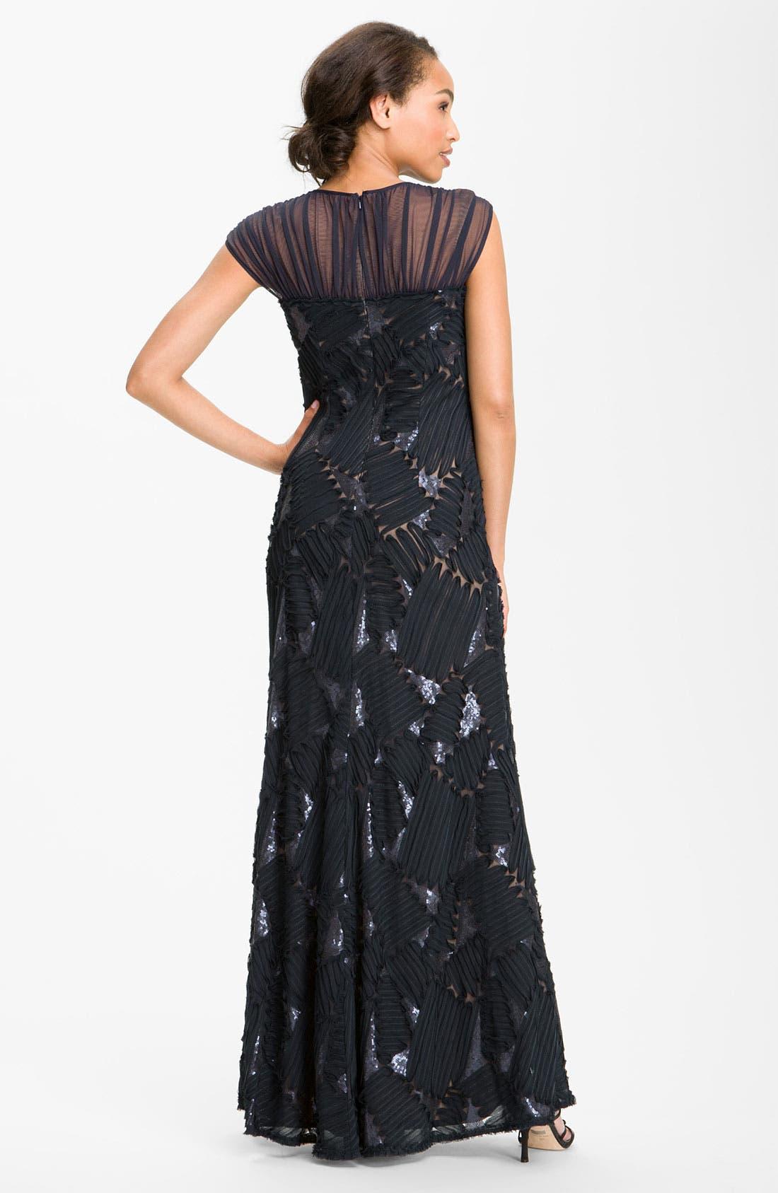 Alternate Image 2  - Tadashi Shoji Embroidered Illusion Yoke Chiffon Gown