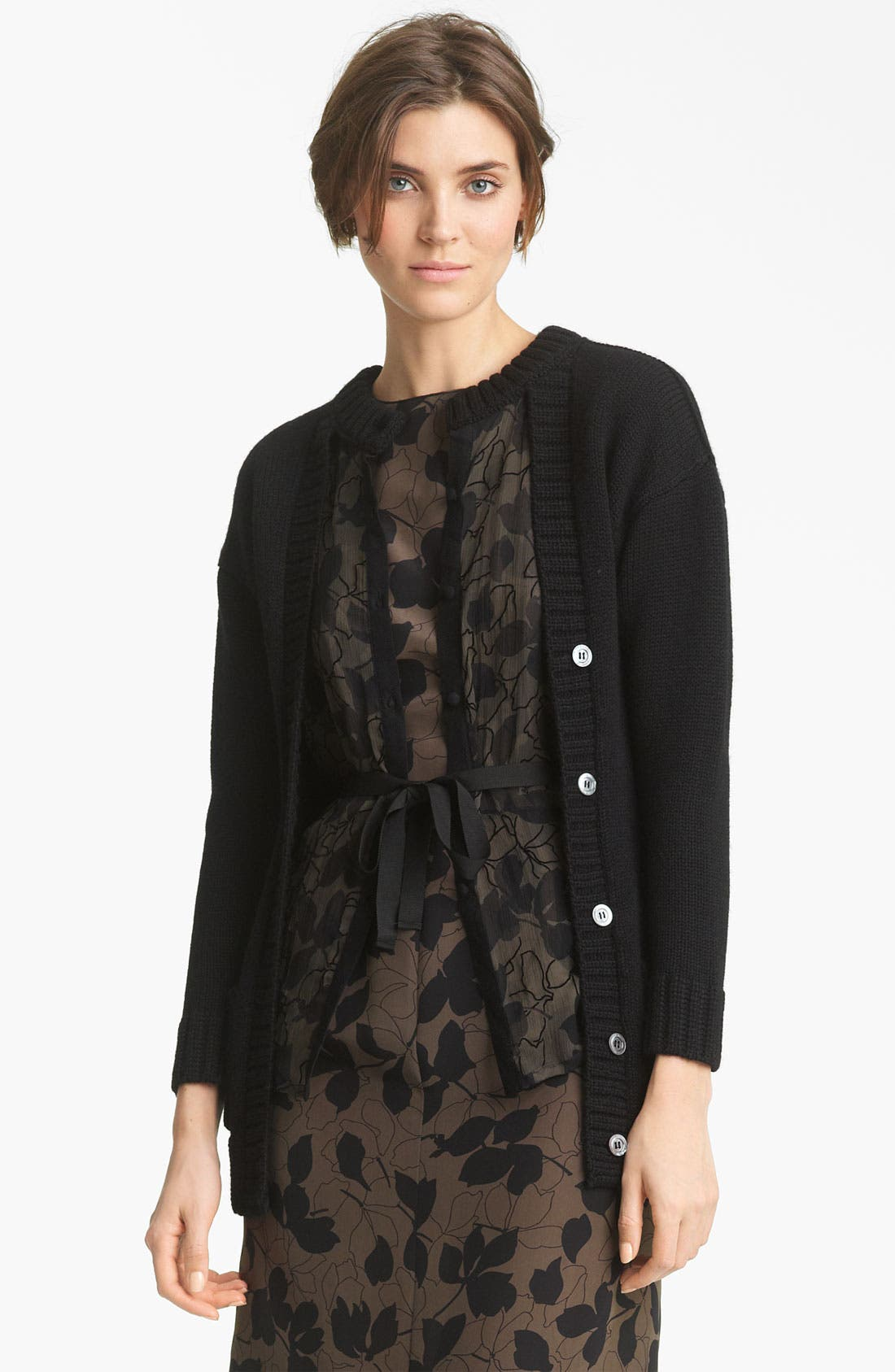 Main Image - Nina Ricci Mousseline & Wool Layered Cardigan