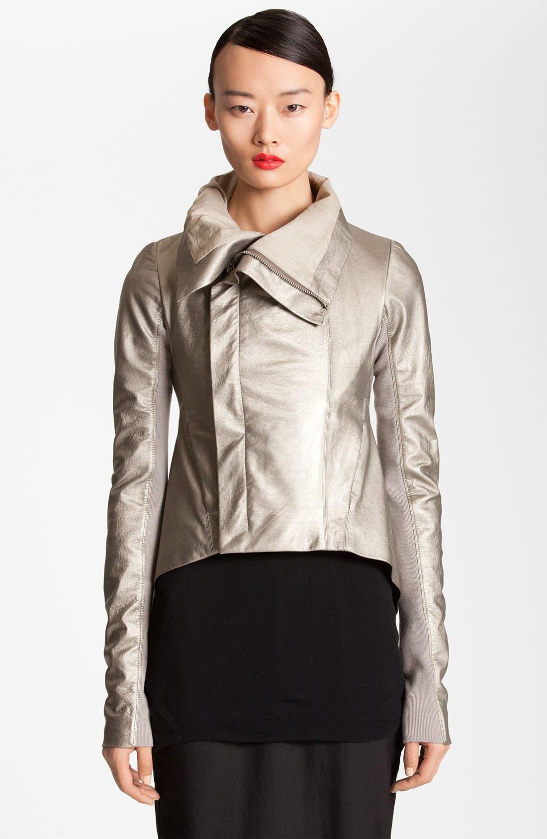 Main Image - Rick Owens Metallic Leather Jacket