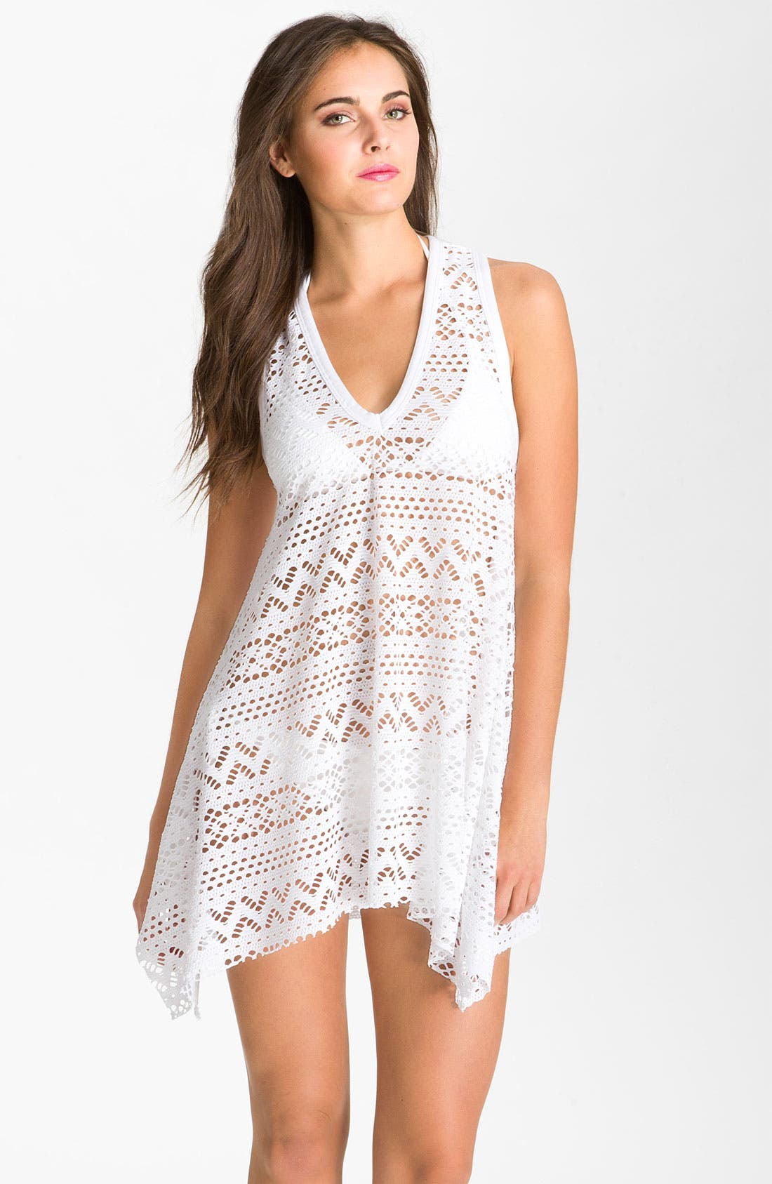 Main Image - Robin Piccone 'Penelope' Crochet Kerchief Cover-Up Dress