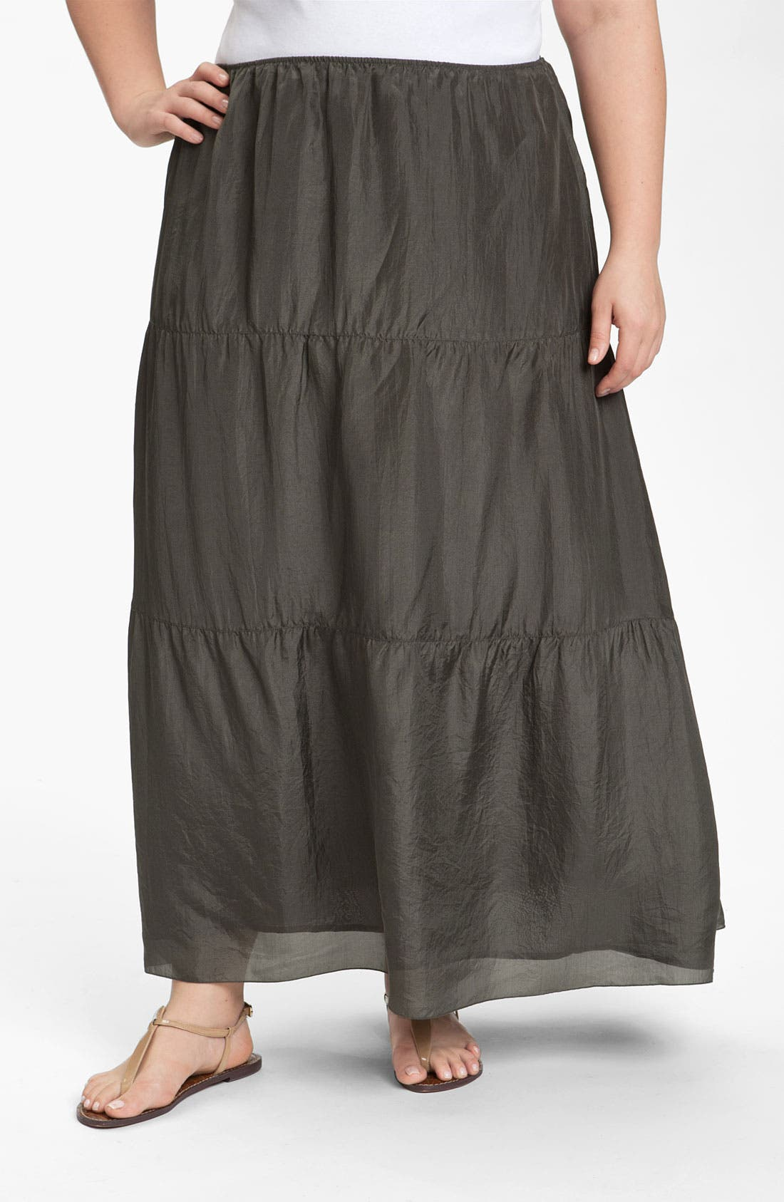 Alternate Image 1 Selected - Eileen Fisher Silk Maxi Skirt (Plus)