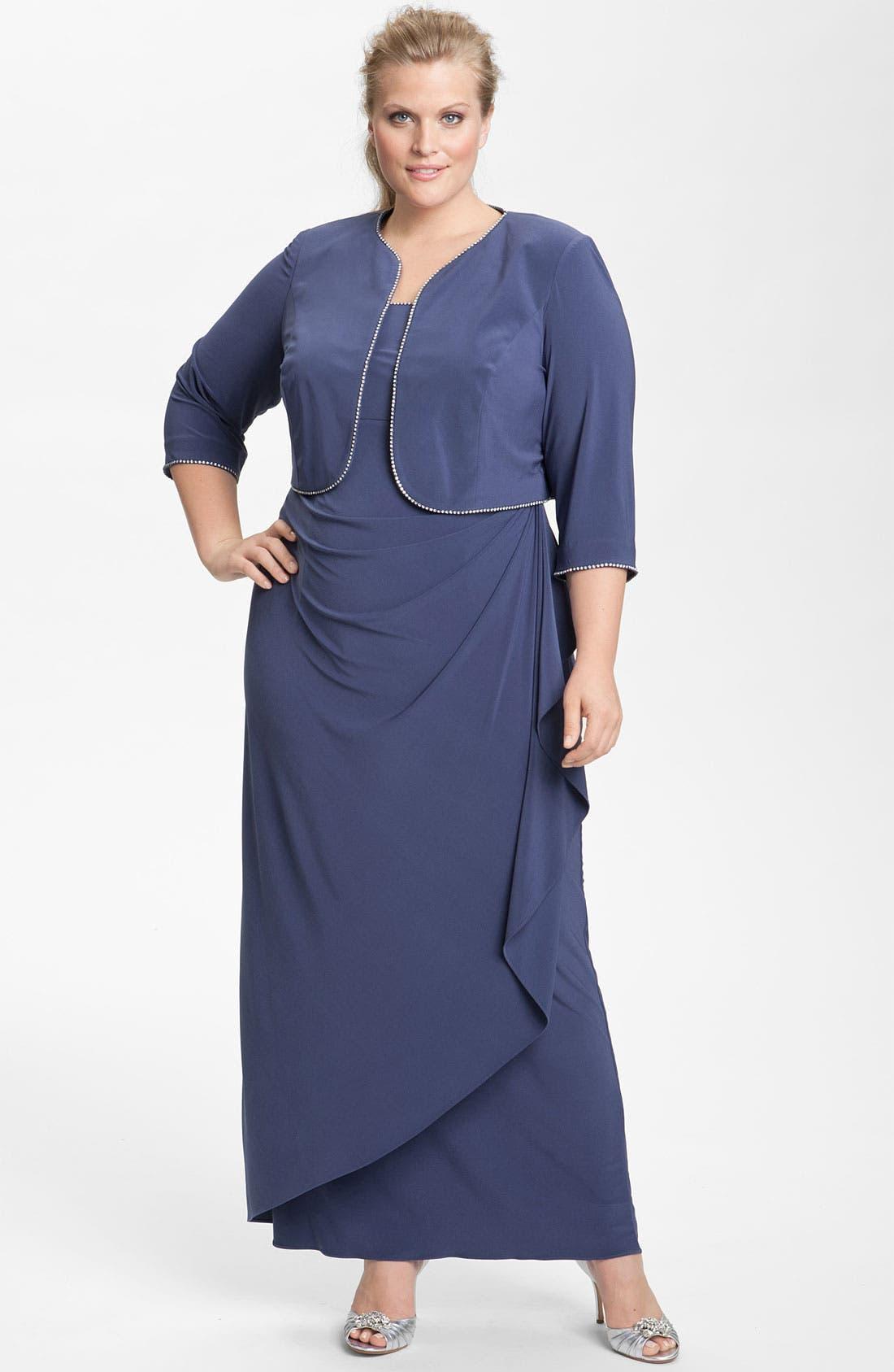 Main Image - Alex Evenings Rhinestone Jersey Dress & Bolero (Plus)