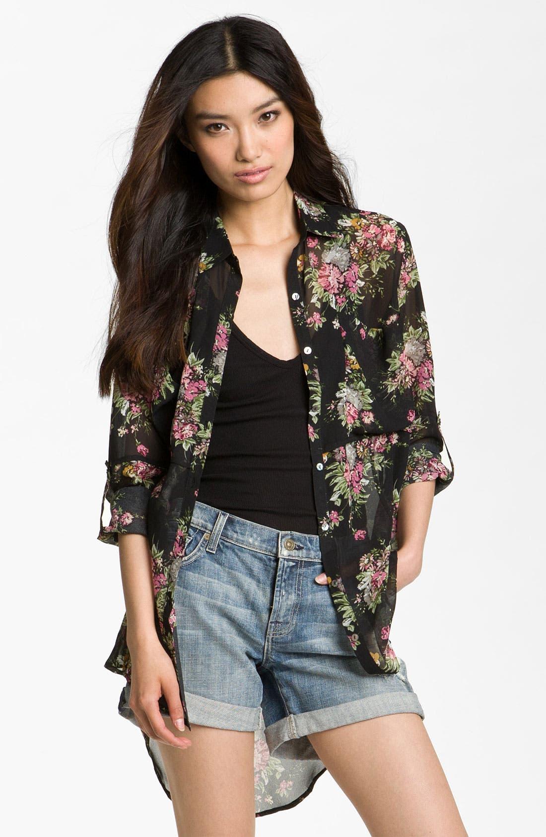 Alternate Image 1 Selected - Line & Dot Oversized Vintage Floral Shirt