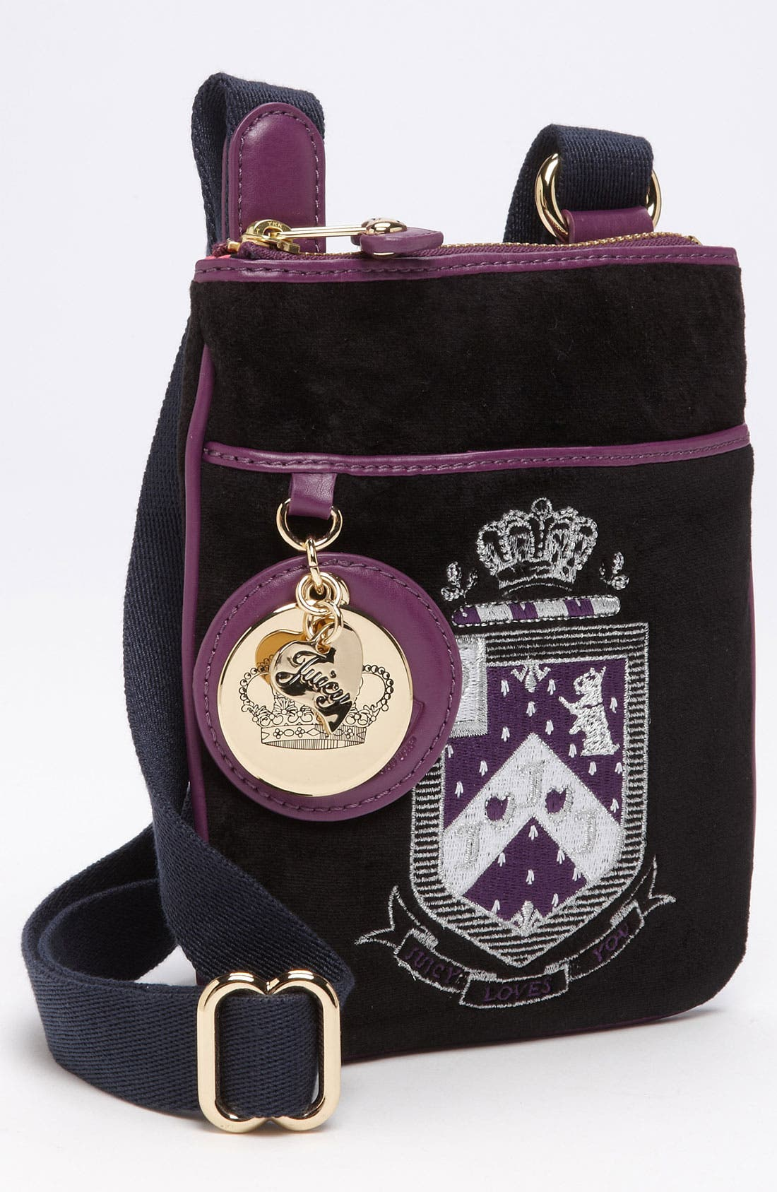 Alternate Image 1 Selected - Juicy Couture 'Juicy Loves You' Velour Crossbody Bag (Girls)