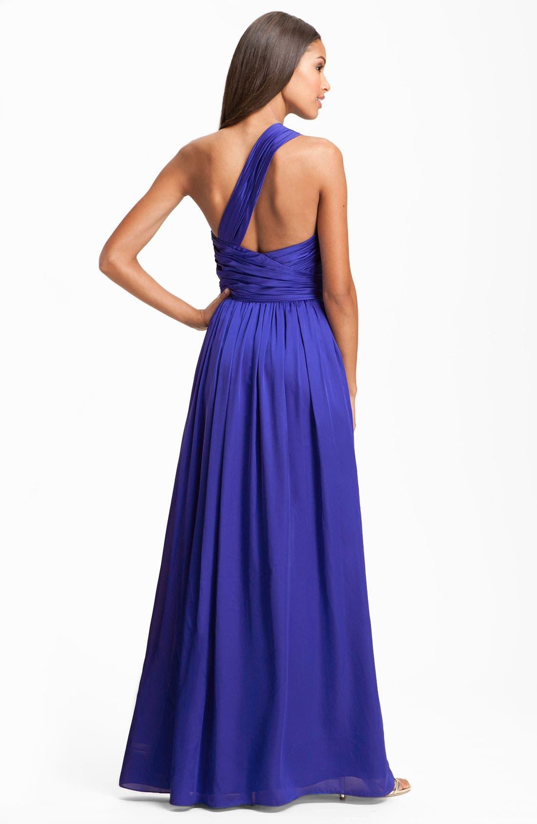 Alternate Image 2  - ML Monique Lhuillier Bridesmaids One Shoulder Charmeuse Gown (Nordstrom Exclusive)