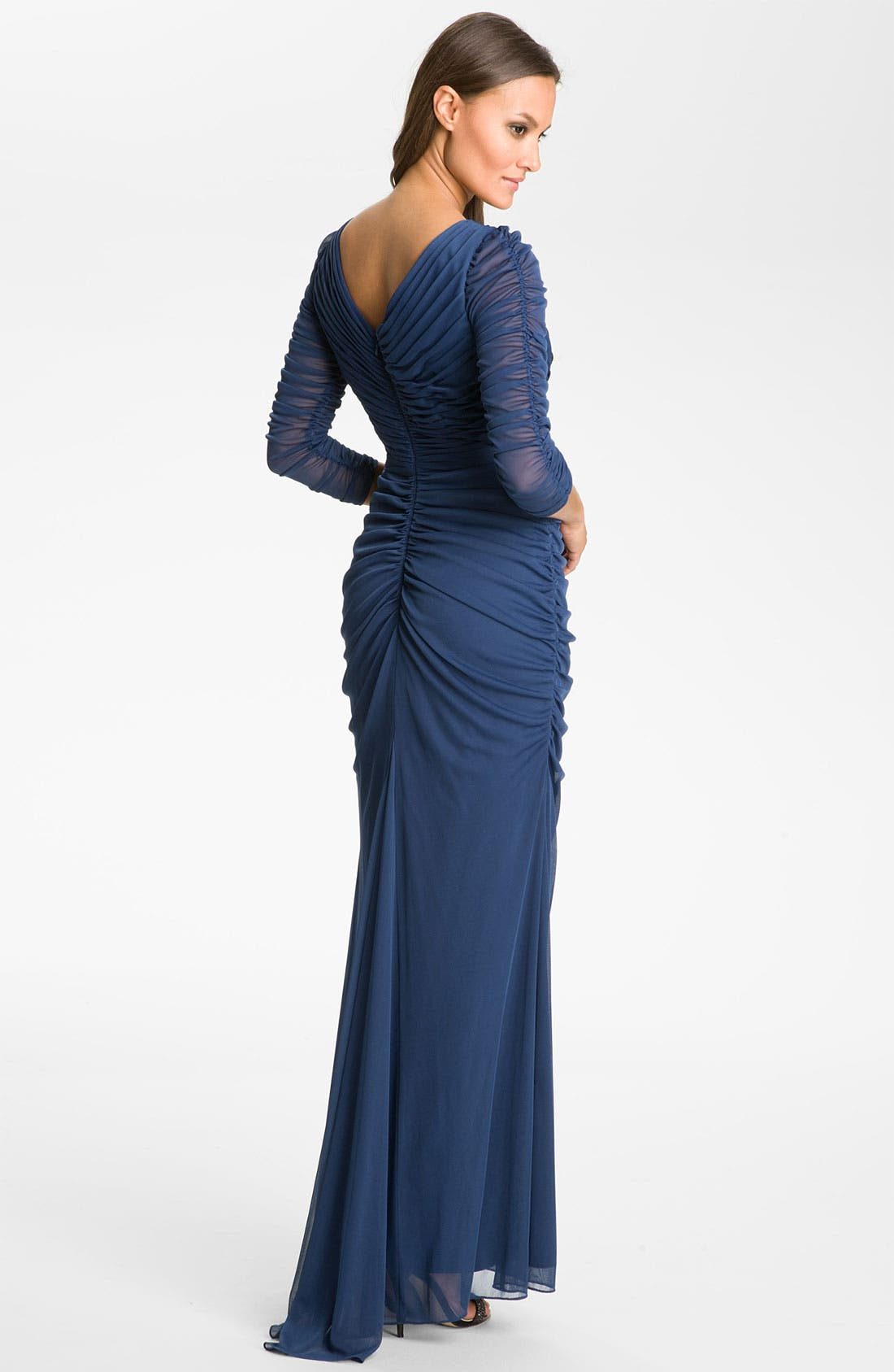 Alternate Image 2  - Adrianna Papell Beaded Mesh Gown (Regular & Petite)