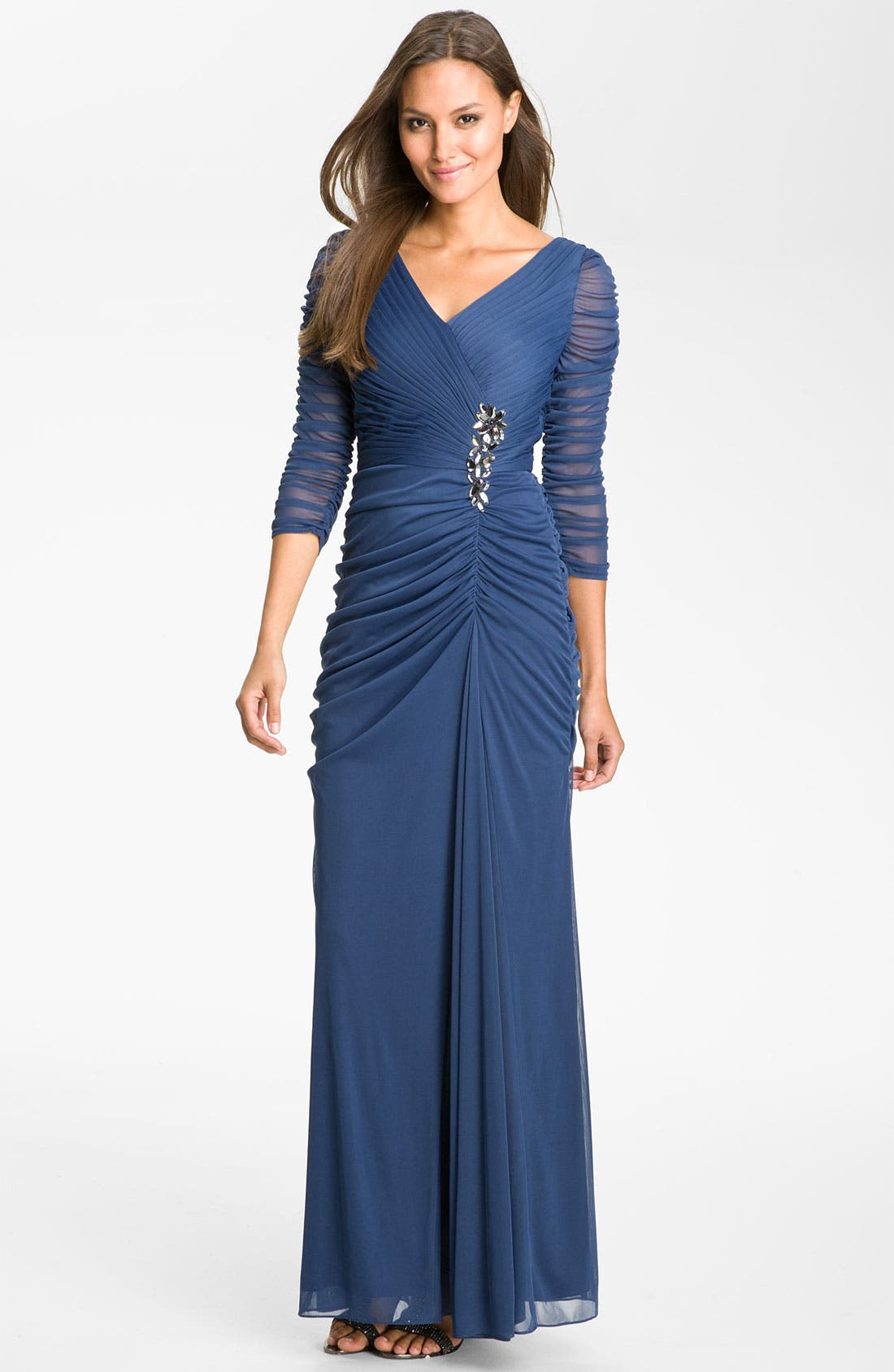 Alternate Image 1 Selected - Adrianna Papell Beaded Mesh Gown (Regular & Petite)