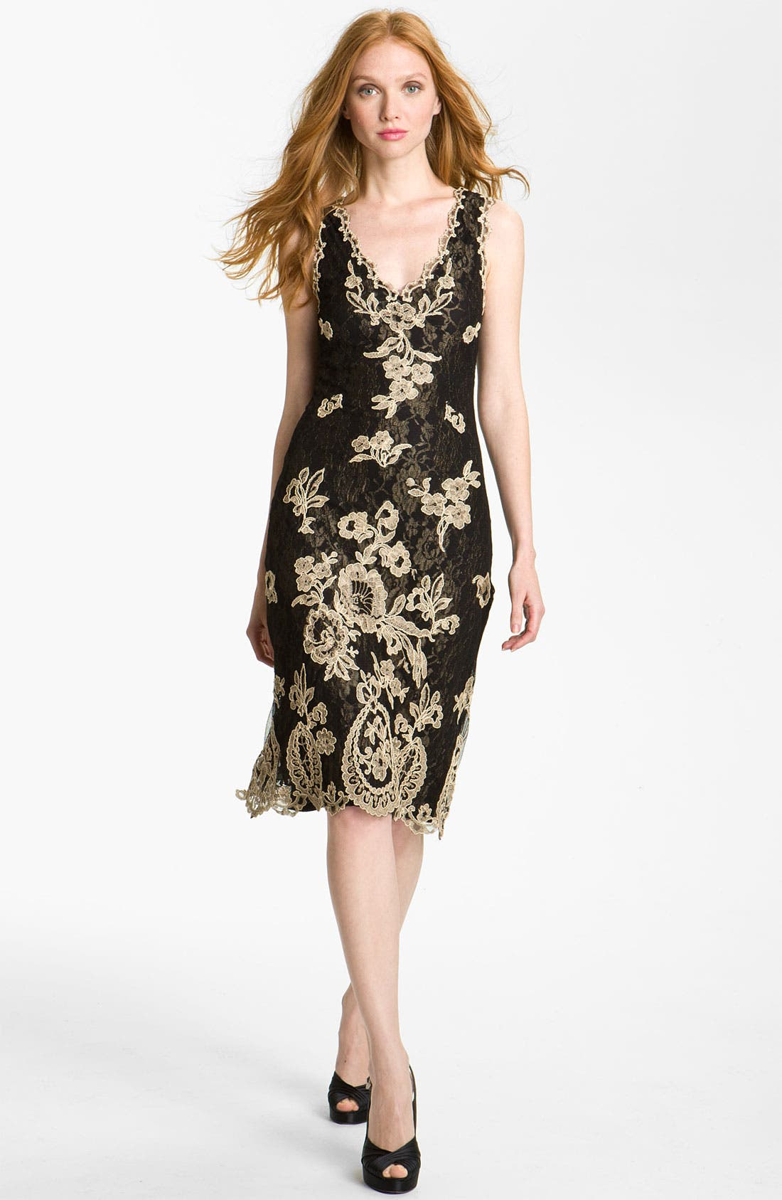 Alternate Image 1 Selected - Kay Celine V-Neck Embroidered Mesh Sheath Dress