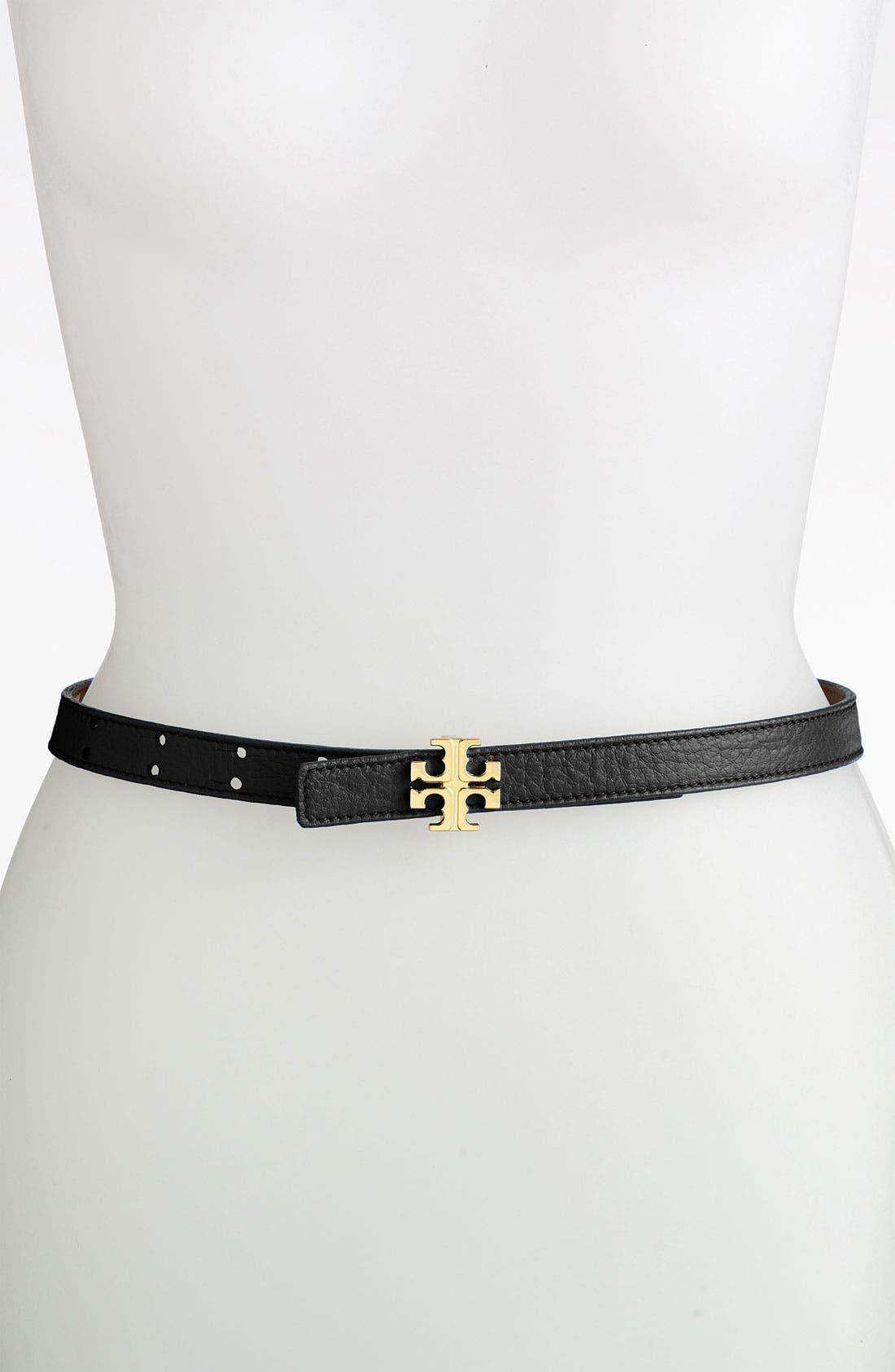 Alternate Image 1 Selected - Tory Burch Skinny Logo Belt