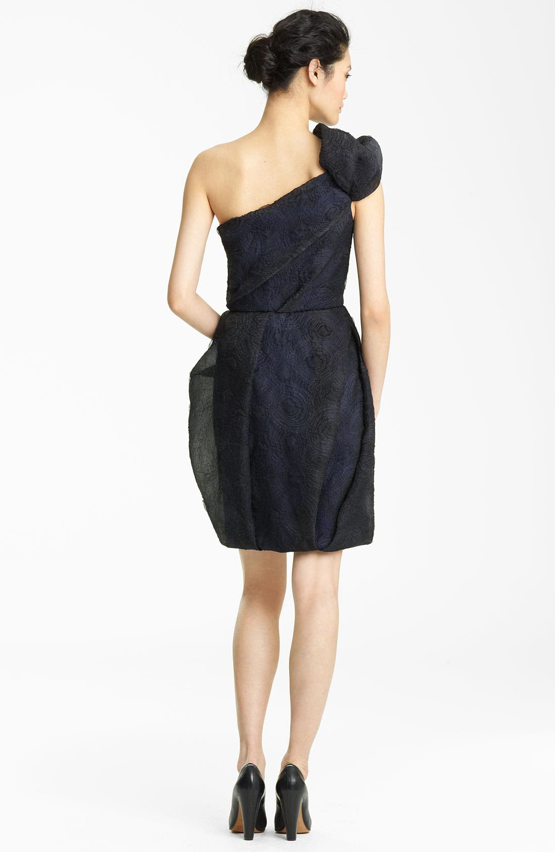 Alternate Image 2  - Lida Bada Organza Jacquard One Shoulder Dress