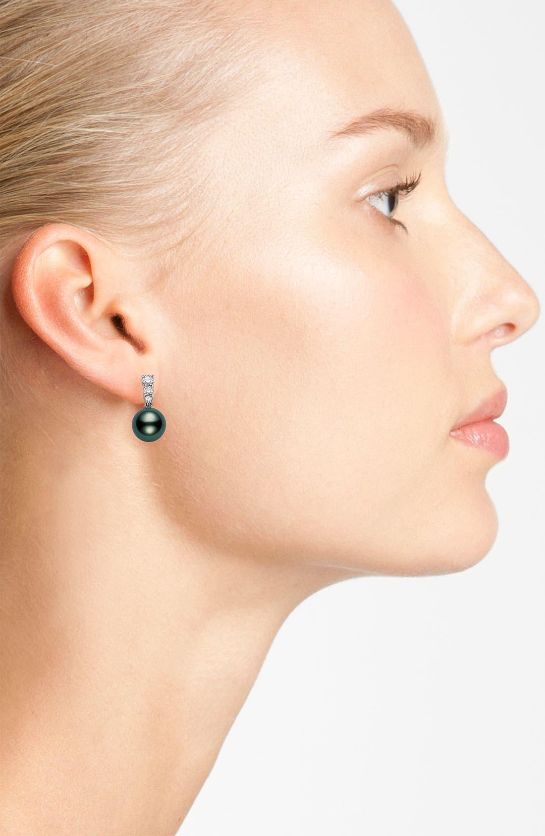 Alternate Image 2  - Mikimoto 'Morning Dew' Black South Sea Cultured Pearl & Diamond Earrings
