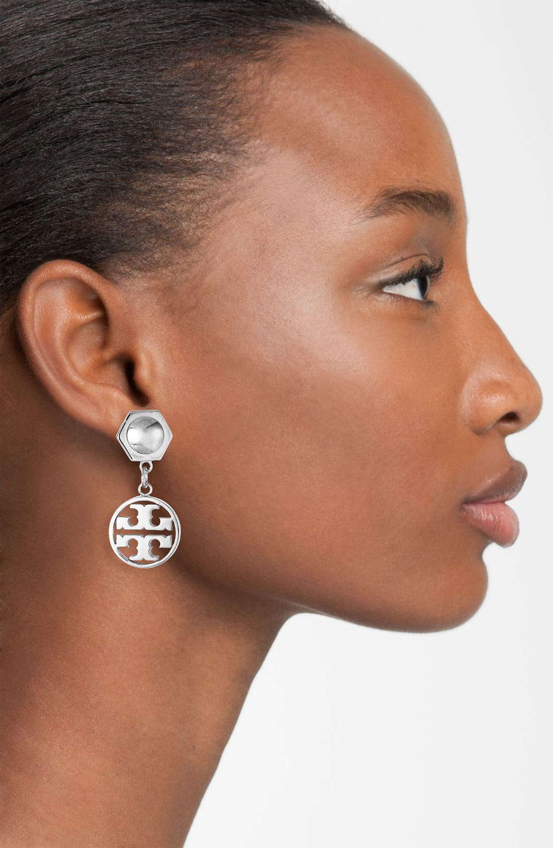 Alternate Image 2  - Tory Burch Circle Logo Drop Earrings