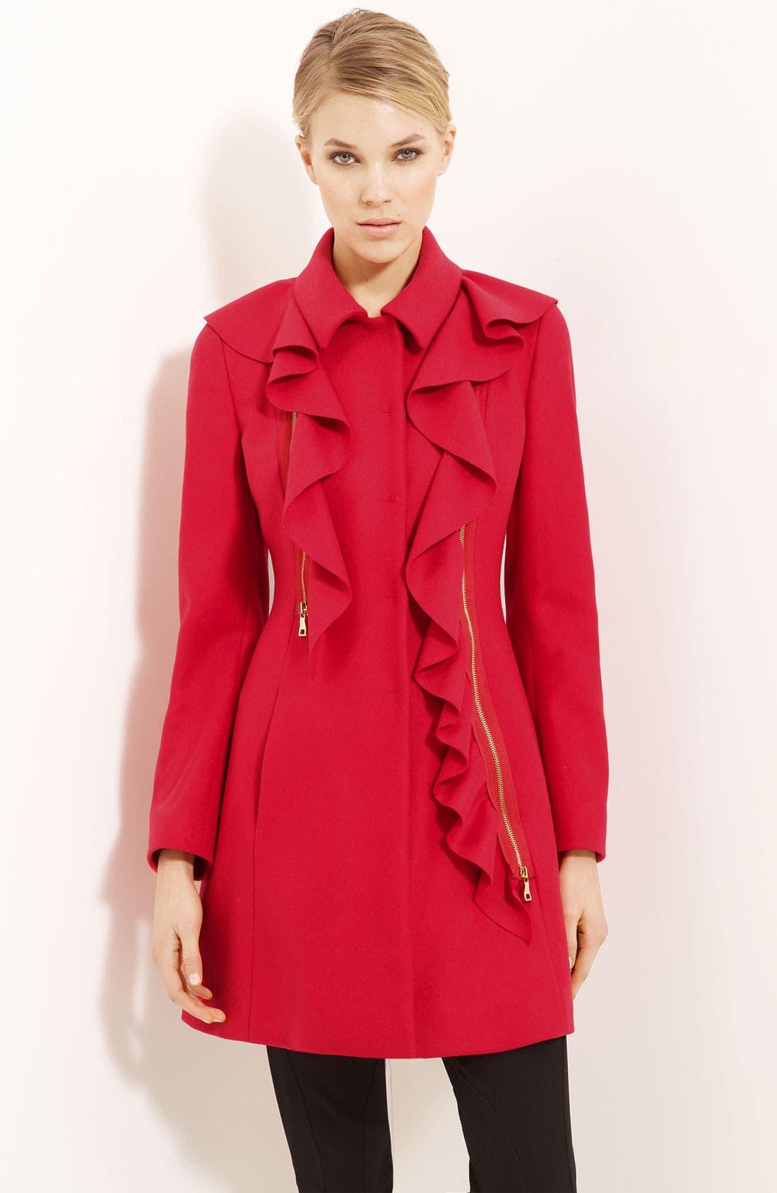 Alternate Image 1 Selected - Moschino Cheap & Chic Detachable Ruffle Coat