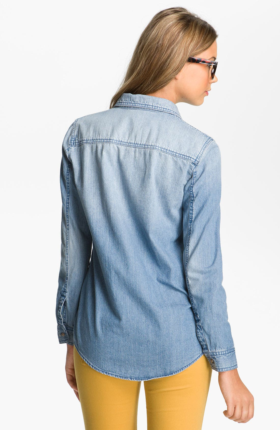 Alternate Image 2  - Rubbish® Chambray Boyfriend Shirt (Juniors)