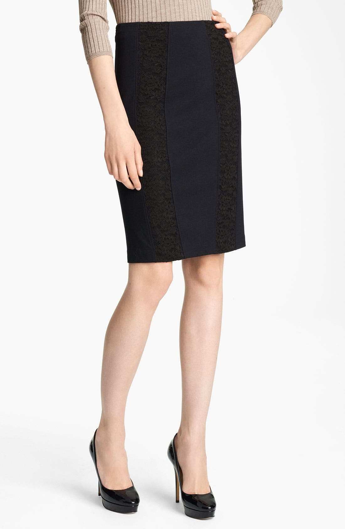 Alternate Image 1 Selected - Blumarine Lace Inset Pencil Skirt