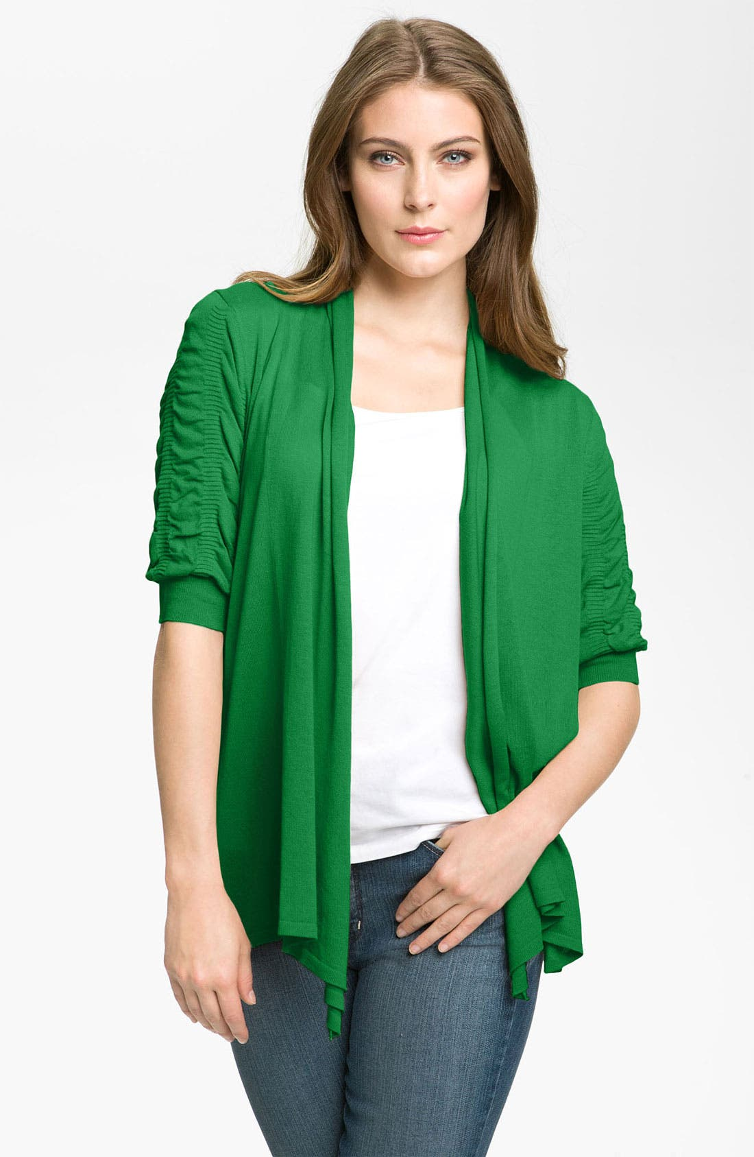 Alternate Image 1 Selected - Fever Ruched Sleeve Cardigan
