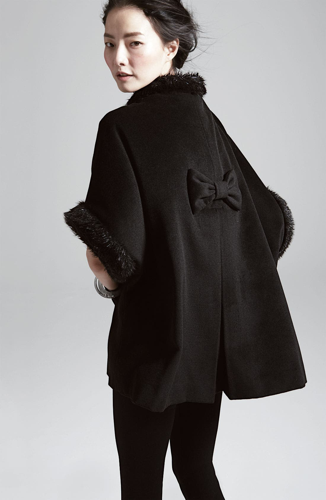 Alternate Image 2  - Halogen® Faux Fur Trim Cape
