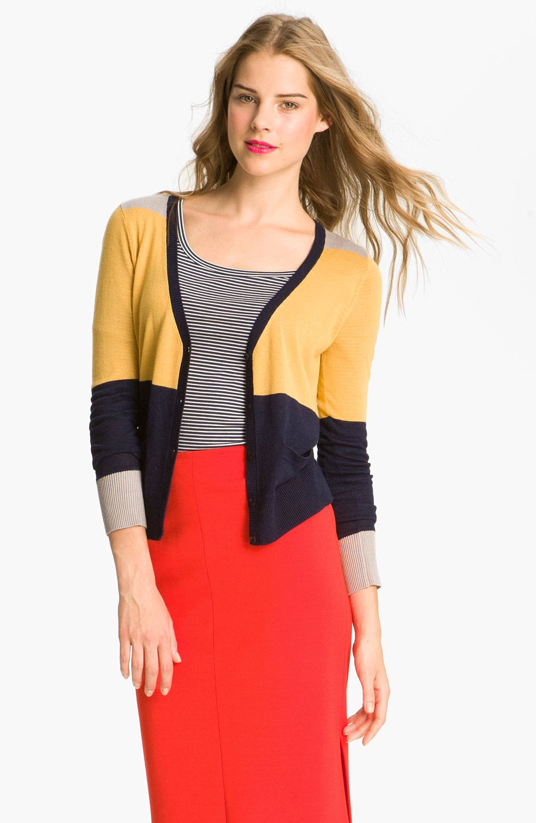 Alternate Image 1 Selected - Halogen® Colorblock V-Neck Cardigan