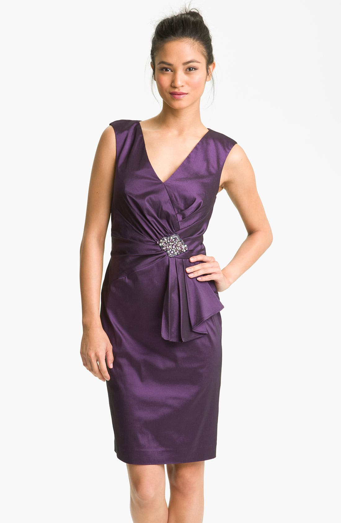 Alternate Image 1 Selected - Eliza J Embellished Taffeta Sheath Dress