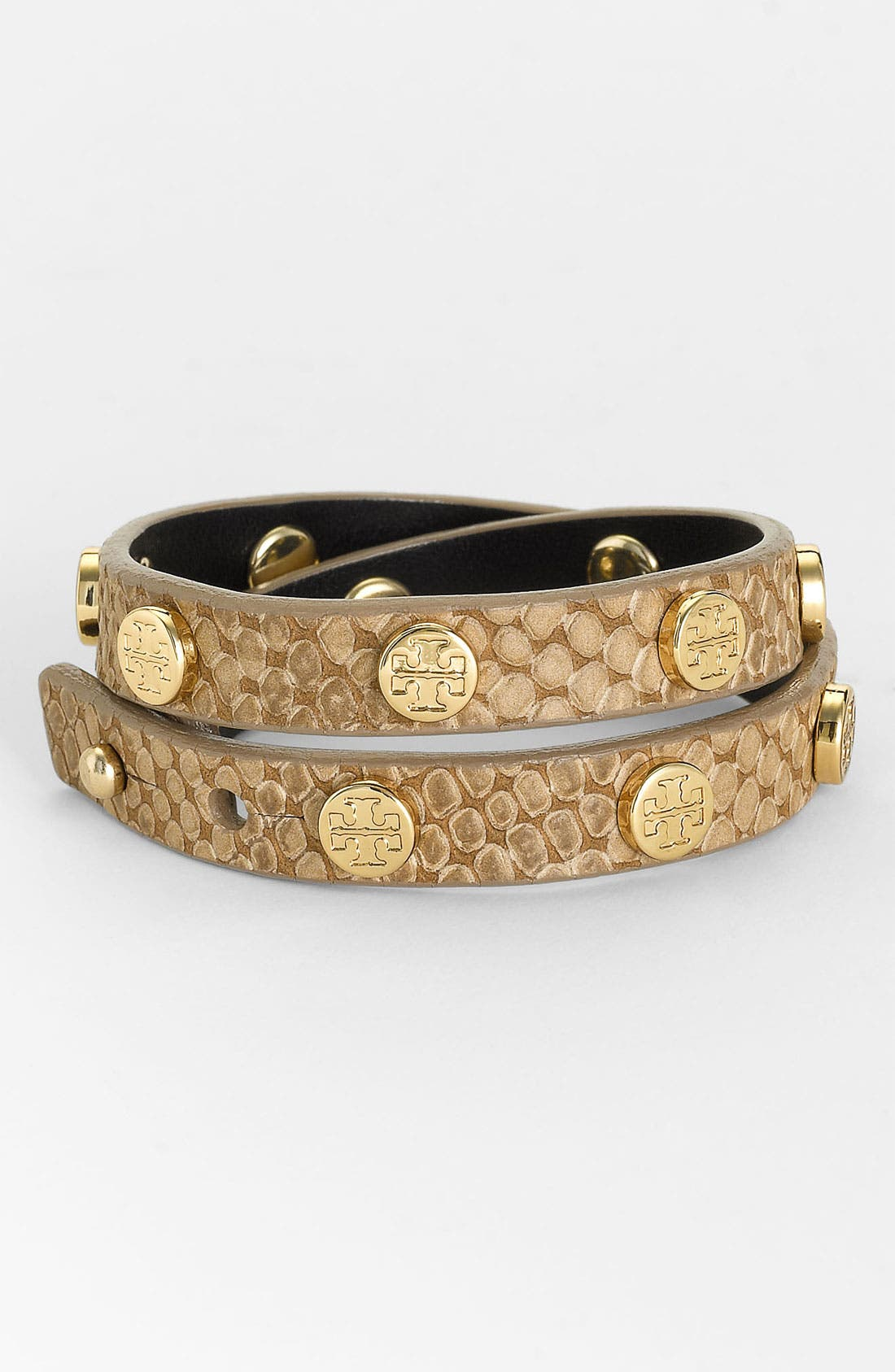 Main Image - Tory Burch Embossed Leather Wrap Bracelet
