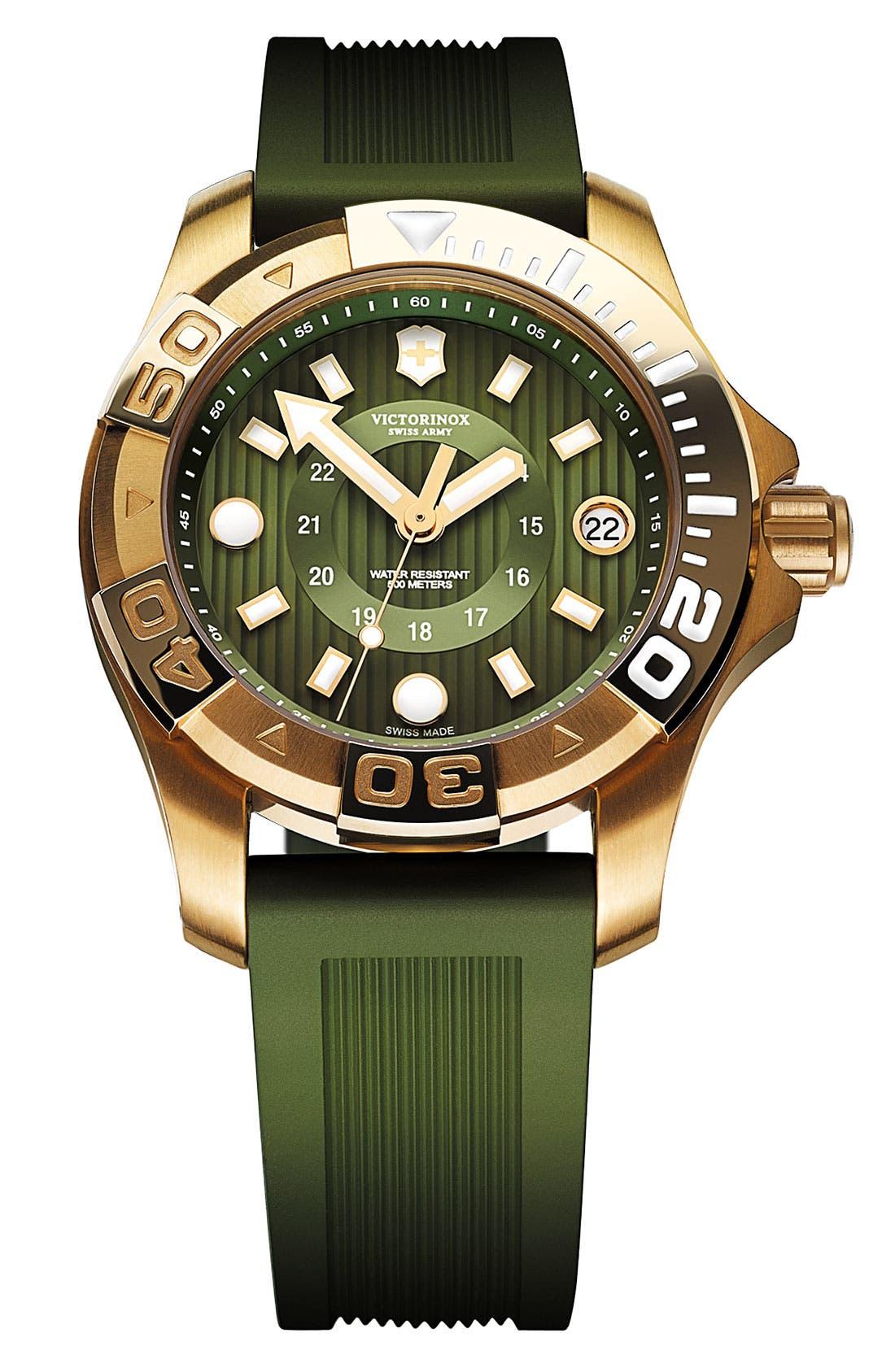 Main Image - Victorinox Swiss Army® 'Dive Master' Round Rubber Strap Watch, 38mm