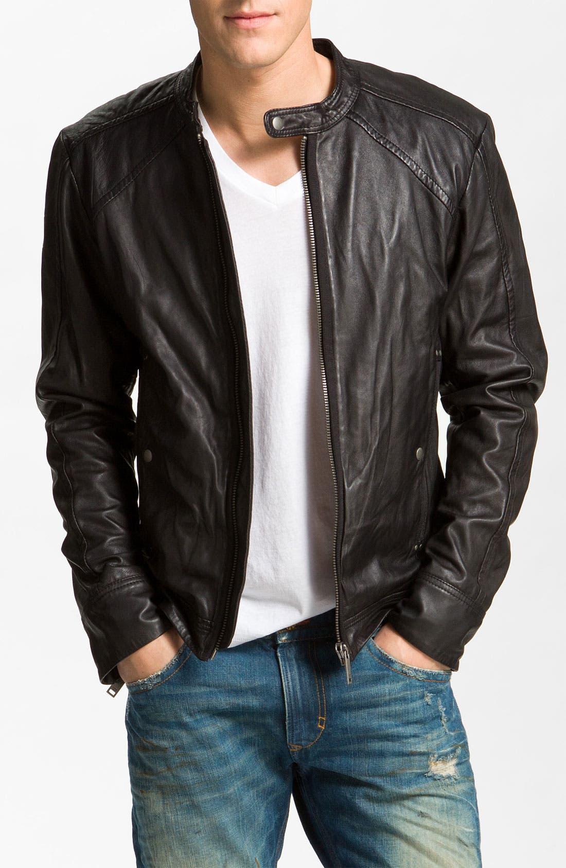 Alternate Image 1 Selected - DIESEL® 'Leide' Extra Trim Fit Crinkled Leather Jacket