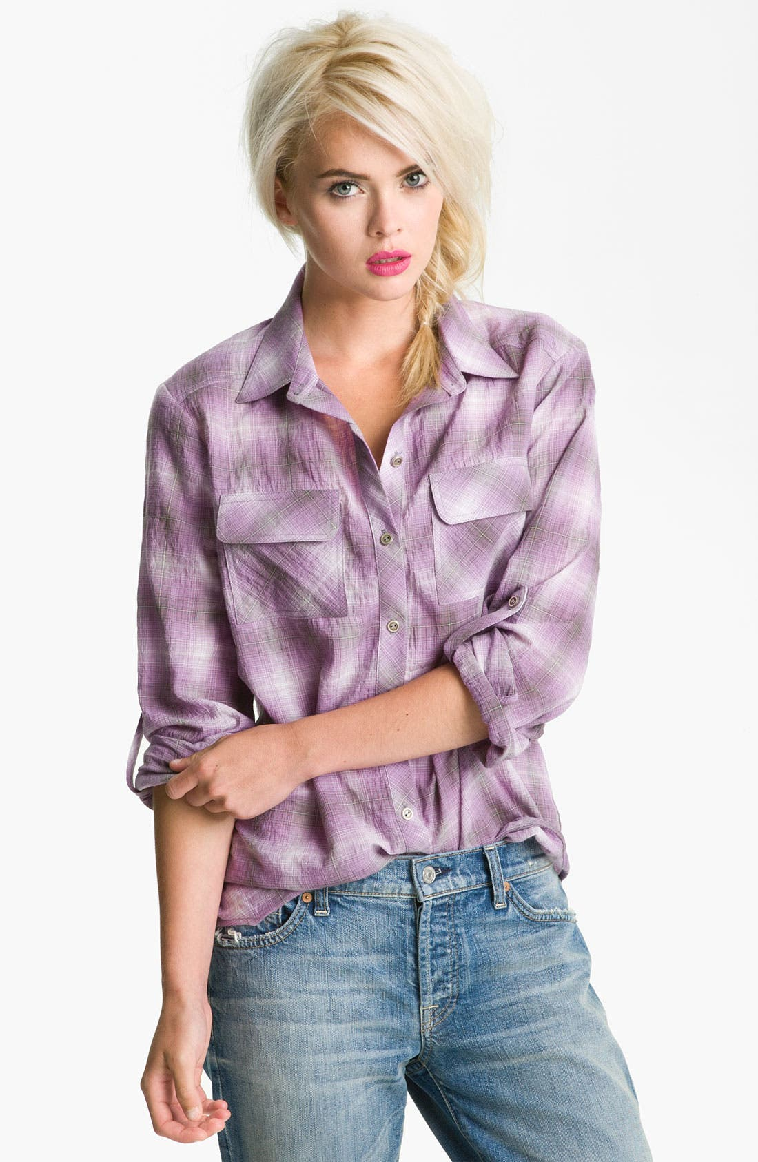 Alternate Image 1 Selected - Gibson Plaid Roll Tab Shirt