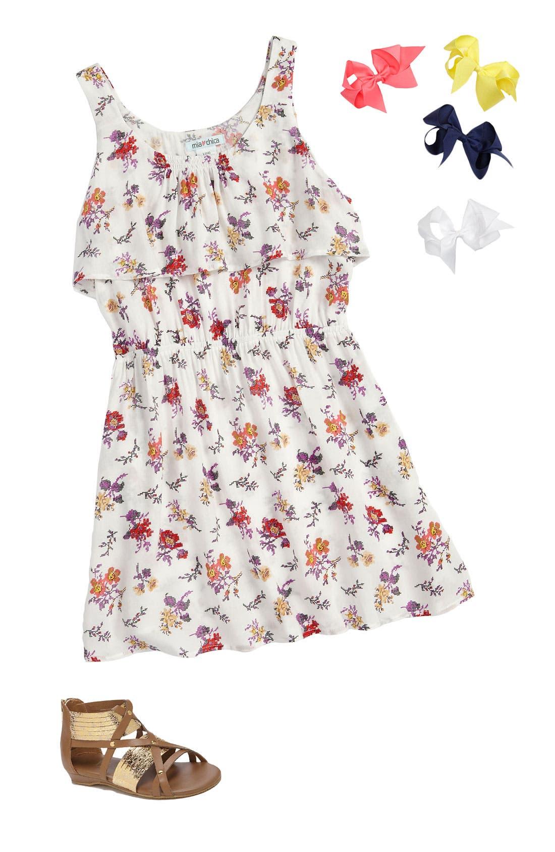 Main Image - Mia Chica Dress & Bows Arts Bows (Big Girls)