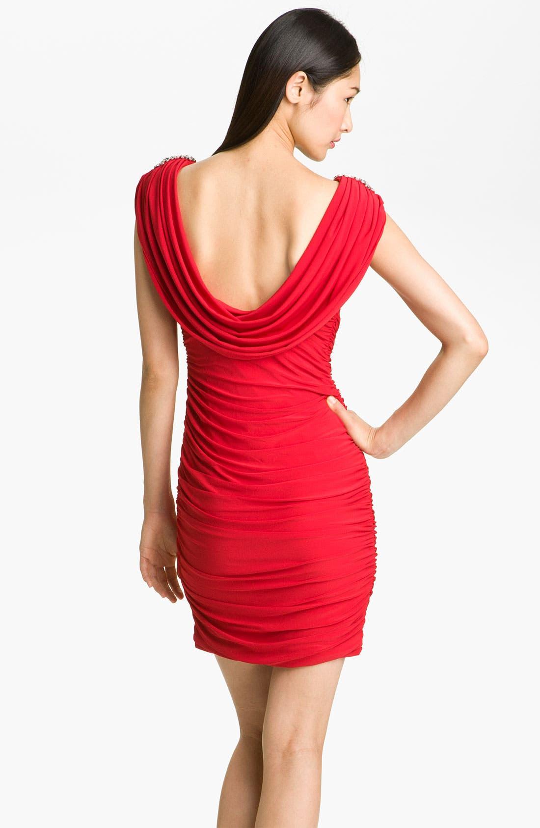 Alternate Image 2  - JS Boutique Ruched Draped Back Jersey Sheath Dress